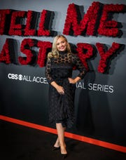 """Natalie Alyn Lind is photographed before the premiere screening for """"Tell Me A Story""""at the Country Music Hall of Fame Wednesday, November 20, 2019."""