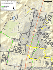 The conceptual scooter district to use e-scooters in Franklin.