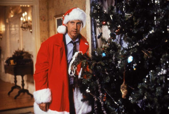 "Clark Griswold (Chevy Chase) goes all out for the holiday in ""National Lampoon's Christmas Vacation.""  Lampoon's Christmas Vacation."""