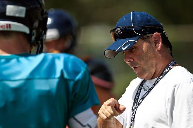 Naples High School head coach Bill Kramer during practice on Tuesday, August 21, 2012.