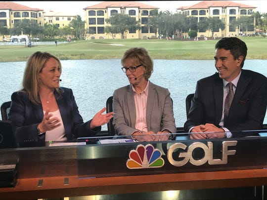 LPGA Tour golfer Cristie Kerr made her debut in the TV booth during the Golf Channel's telecast of the first round of the CME Group Tour Championship on Thursday, Nov. 21, 2019, in Naples.