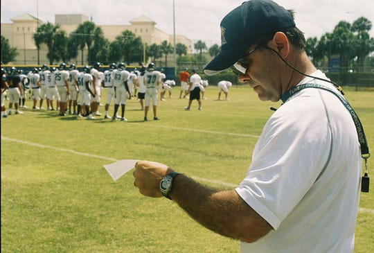 Naples Football coach Bill Kramer works with his team during practice at Naples High School on Thursday, May 10, 2007.