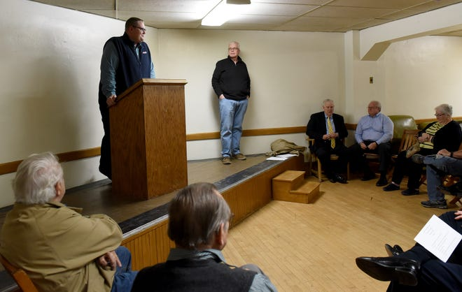 Spencer Barker thanks the Republican Party Central Committee members from Newark after the committee voted to appoint him to the vacant council at-large seat on Wednesday night. Barker will take Mark Frazier's seat after Frazier was picked to replace Rep. Scott Ryan in the Ohio House.