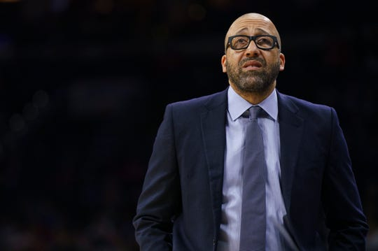 New York Knicks head coach David Fizdale looks on during the first half of an NBA basketball game against the Philadelphia 76ers, Wednesday, Nov. 20, 2019, in Philadelphia.
