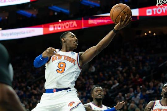 Nov 20, 2019; Philadelphia, PA, USA; New York Knicks forward RJ Barrett (9) drives for a score against the Philadelphia 76ers during the first quarter at Wells Fargo Center.