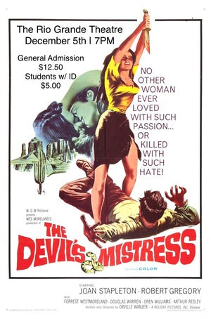 """The Devil's Mistress"" will be shown at the Rio Grande Theatre on Dec 5."