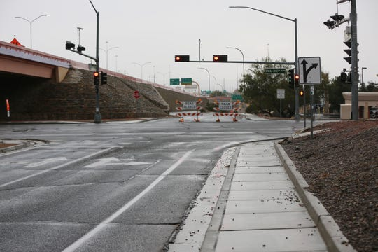The road closure at Del Rey Boulevard and Bataan Memorial West, leading to US 70 and Interstate 25 in Las Cruces, Thursday Nov. 21, 2019.