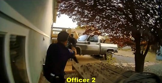 A screenshot from body camera footage from the Oct. 10 Farmington Police Department officer-involved shooting of 58-year-old Norbert Beyet. Police say Beyet pointed a handgun at officers and was shot once by an officer. Beyet died from the injury.