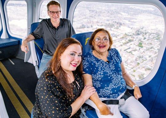 Anita Saavedra-Durnil enjoys a ride in a Goodyear blimp.