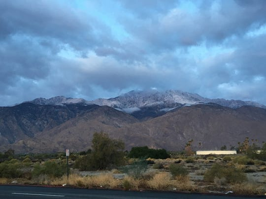 Snow is visible on the San Jacinto Mountains from Gene Autry Trail on Thursday, Nov. 21, 2019. Snow fell the previous day during a storm that dropped 0.10 inches of rain on Palm Springs.