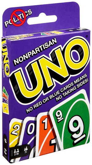 The new Uno Nonpartisan has no red or blue cards. Seriously.