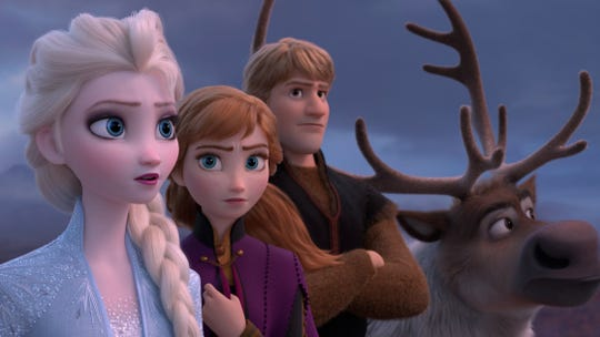 "Back for ""Frozen 2"": Elsa, left, Anna, Kirstoff and Sven."