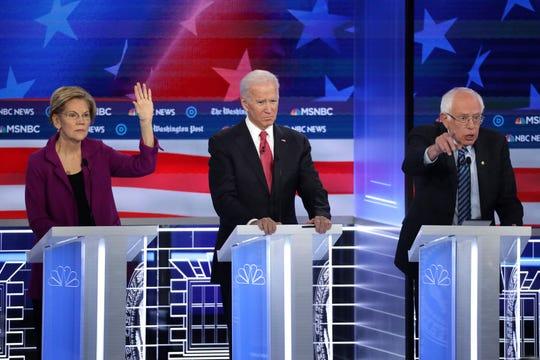 Elizabeth Warren, Joe Biden y Bernie Sanders, tres de los favoritos.