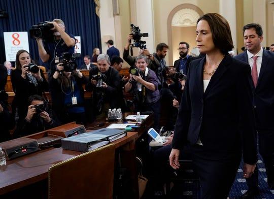 La ex asesora de Trump, Fiona Hill, a su llegada a la comparecencia ante el comité.