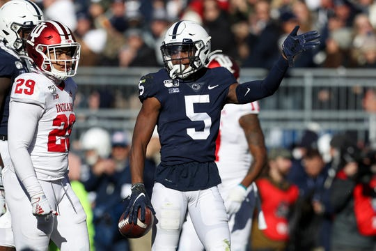 Nov 16, 2019; University Park, PA, USA; Penn State Nittany Lions wide receiver Jahan Dotson (5) signals a first down during the second quarter against the Indiana Hoosiers at Beaver Stadium. Penn State defeated Indiana 34-27. Mandatory Credit: Matthew O'Haren-USA TODAY Sports