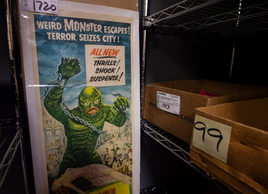 "A ""Revenge of the Creature"" movie poster sits inside storage at Hake's Auctions in Springettsbury Township. ""Revenge of the Creature"" was a 1955 3D sequel to 1954's ""Creature from the Black Lagoon."" The item was part of the Nov. 2019 auction and sold for over $500."