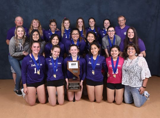 The lady Lions volleyball team.