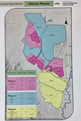 A map details closure phases for the Anaconda Mine.