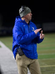 Reed coach Antony Amantia during the Reed at Damonte Ranch Northern 4A Regional semi final football game on Wednesday, November 20, 2019.