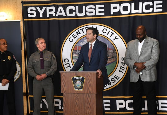Peter Fitzgerald from the FBI addresses questions about a series of racist messages and hate crimes that have occurred at SU in the last two weeks during a press conference Tuesday, Nov. 19, 2019, at the Public Safety Building in Syracuse, N.Y.