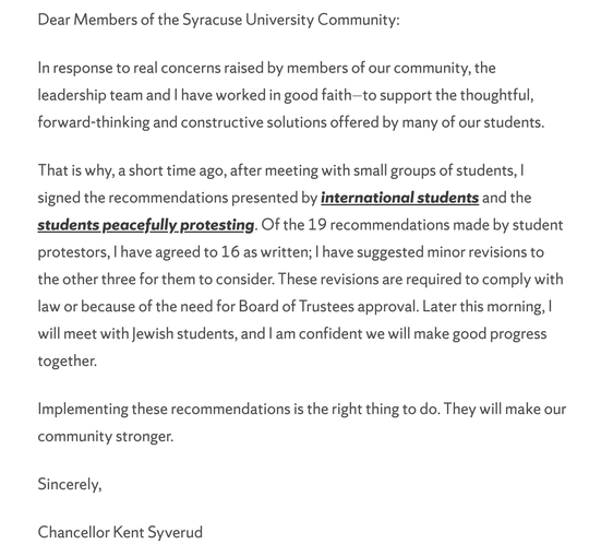 A message Thursday from Syracuse Chancellor Kent Syverud on Nov. 21, 2019.