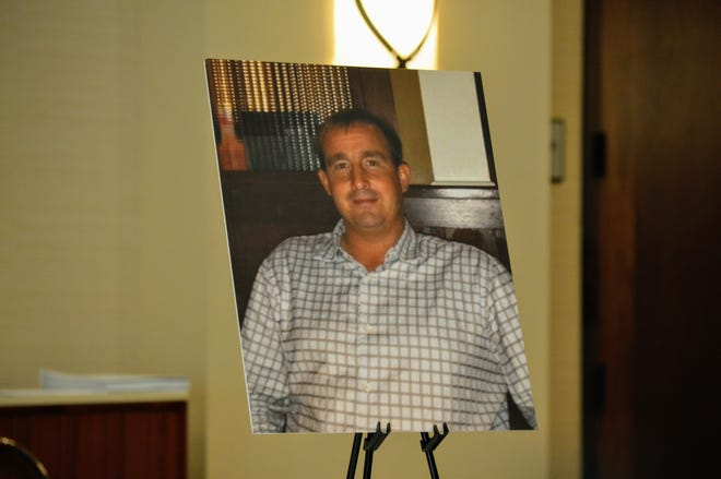 A photo of Donnell Lang was set up before a press conference announcing a wrongful death lawsuit at the Redding Sheraton Hotel on Thursday, Nov. 21, 2019.