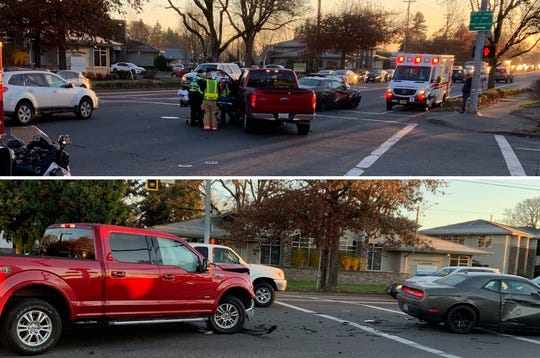 Crash blocking an eastbound lane of Mission Street at 22nd Street SE Thursday morning, Nov. 21.