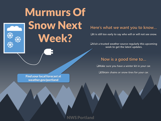 Possible snow is coming to Oregon next week.