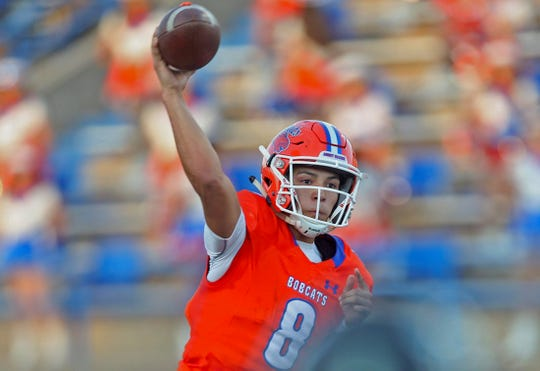 Malachi Brown throws a pass for the San Angelo Central football team Friday, Sept. 13, 2019.