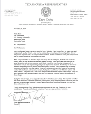 State Rep. Drew Darby penned a letter of introduction to the US Ambassador to Nepal.