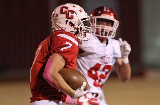 Josh Fava rushes the ball for Christoval on Friday, Nov. 1, 2019.