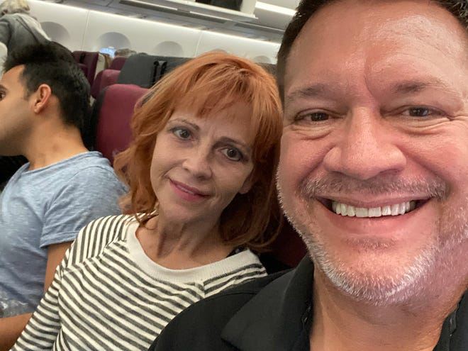 Rebekah Ocker, left, and her brother Terry Mikeska await takeoff from Qatar on their trip to Nepal Thursday, Nov. 21, 2019. This is Mikeska's 54th trip to the region since devastating earthquakes struck the country in April of 2015.