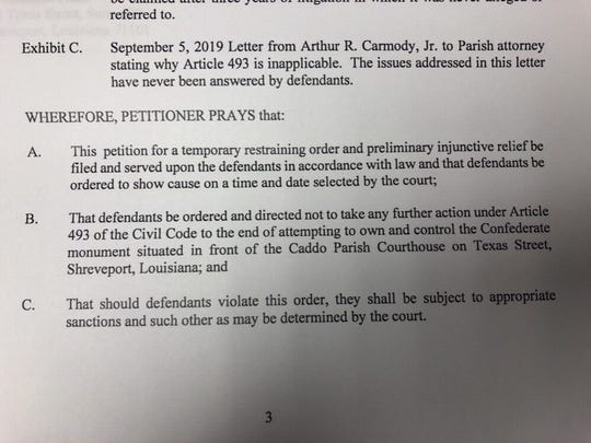 The local chapter of the United Daughters ofthe Confederacy has filed a request fora temporary restraining order against the Caddo Parish Commission.