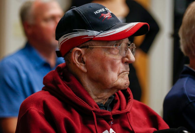 Truman Medders listens to a presentation on veterans and opioid addiction during the Wellness for Warriors program at the Meyer Orthopedic and Rehabilitation Hospital on Thursday, Nov. 21, 2019.