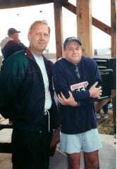 Former Springfield TV news anchor Jerry Jacob (right) was at what is believed to be the first Springfield Greene County Park Board Turkey Trot. It was held in 1995 at the Developmental Center of the Ozarks at 1545 E. Pythian St. The man on the left is unidentified.