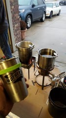 For Fry-Day, Jeff and Lora Martinson set up two vats of hot frying oil: one for savory foods, one for sweet. The Republic, Mo. couple hosts a fried food feast each year on the Friday following Thanksgiving. At the craft beer keg, they take donations for a local dance school.