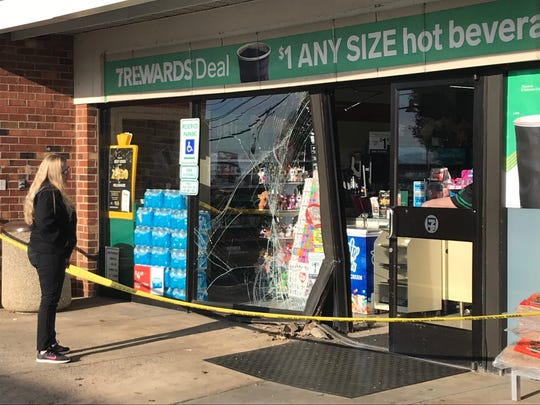 A vehicle struck a 7-Eleven convenience store Thursday morning in Waynesboro on Rosser Avenue.