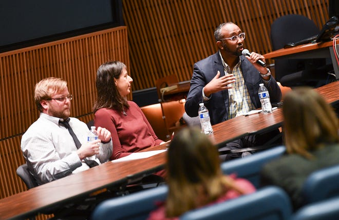 CAIR-MN Executive Director Jaylani Hussein speaks during a forum on bias Wednesday, Nov. 20, 2019, at the Miller Center at St. Cloud State University.