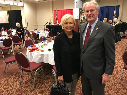 FSU President John Thrasher and his wife, Jean, pose for a photo following Thursday's Tiger Bay Club luncheon.