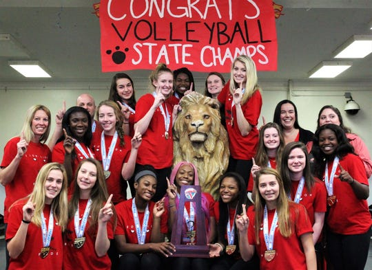 Leon's volleyball team captured a Class 6A state championship and celebrated on its grounds on Nov. 21, 2019.