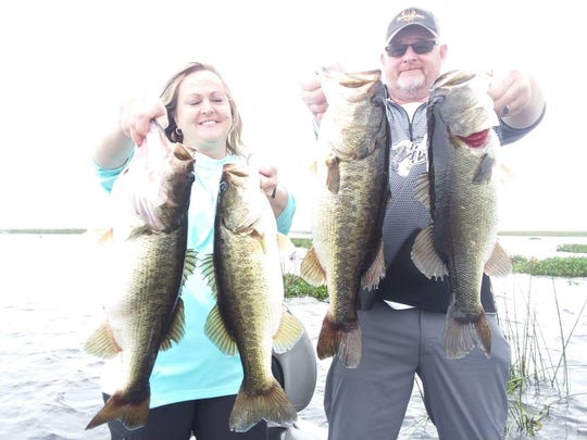 Cindy and Chris Shampine of Nashville enjoyed a good day of bass fishing with Capt. Nate Shellen of Okeechobeebassfishing.com last Friday.