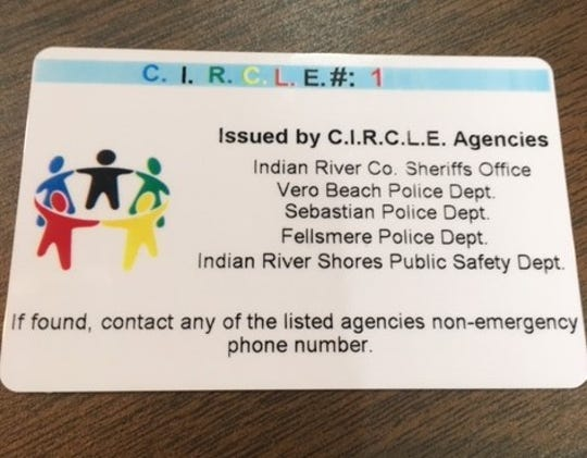A Combined Indian River County Law Enforcement Special Needs Registry registration card.