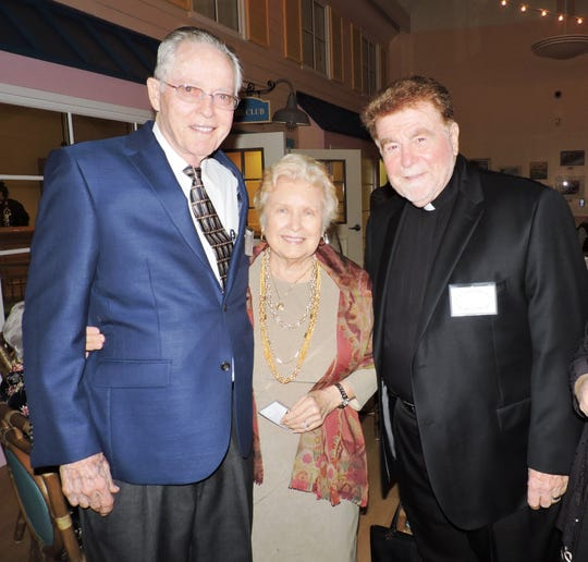 "Noel and Jan Lindsay, left, founders of Mary's Home, with Monsignor Blasé Gintoli, spiritual adviser of Mary's Home, at ""Be an Angel, Bring an Angel"" to benefit Mary's Angels."