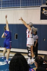 Former Eastwood basketball player Kaylee Martinez attempts a jump shot earlier this season for Sul Ross State