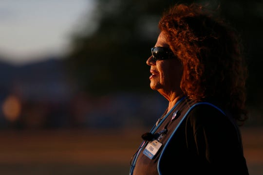 Walmart hero Irma Cano stands at the memorial site at Ponder Park on Wednesday, Nov. 20, 2019, in El Paso. Cano talked about the actions she took after she made eye contact with the gunman on Aug. 3, 2019.