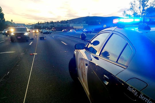 California Highway Patrol units at the scene of a fatal crash on westbound Highway 101 in Woodland Hills Thursday morning.