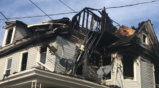 A fire Wednesday night heavily damaged 815-813 Archer St. in Millville. Here, the damage is seen from the 813 Archer St. side as it appears Thursday.
