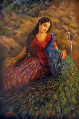 """Radha with the Peacock"" an oil painting by Miriam Briks and Kevin Albert Yee."