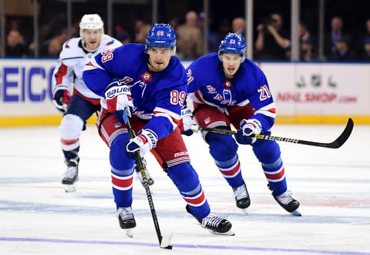 Pavel Buchnevich #89 of the New York Rangers controls the puck during the second period of their game against the Washington Capitals at Madison Square Garden on Nov. 20, 2019 in New York City.