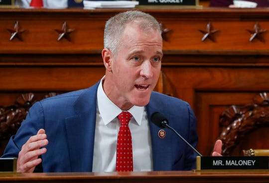 Rep. Sean Patrick Maloney, D-N.Y., questions Gordon Sondland, US Ambassador to the European Union, during a House Intelligence Committee impeachment inquiry hearing on Capitol Hill in Washington, Wednesday, Nov. 20, 2019.